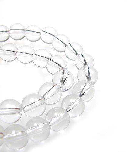 40 Glasperlen farblos 8mm rund, am Strang, Perlen basteln, kristall klar, fädeln