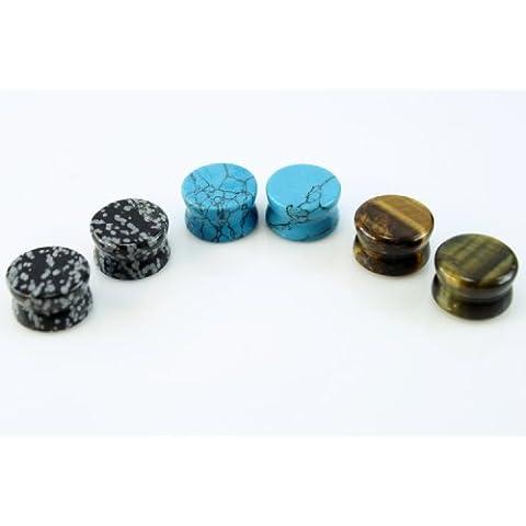 3paia di 5mm (6) totale Ossidiana, colore: