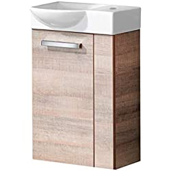 FACKELMANN A-VERO Gäste WC Set Links 2 Teile/Keramik Waschbecken/Waschbeckenunterschrank mit 1 Tür/Soft-Close/Türanschlag Links/Korpus: Braun hell/Front: Braun hell/Breite: 45 cm