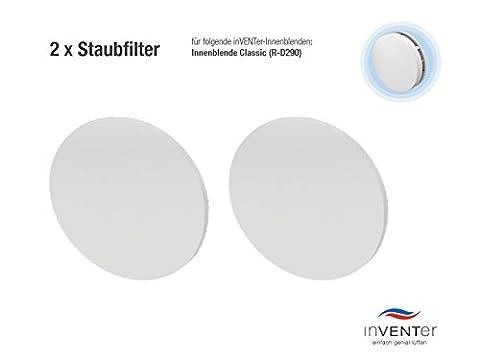2 x inVENTer-Staubfilter der Filterklasse G3 zum Einsetzen in Innenblende Classic (R-D290) | 1004-0033 | Kunststofffaser-Filter zur Verbesserung der Luft- und Lebensqualität