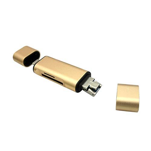 UKCOCO USB-C-Kartenleser Zwei-Wege-TF-SD-Speicherkarten-OTG-Reader-Adapter Universal für Telefon (Golden)