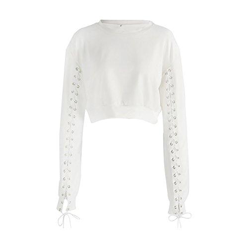 iBaste Langarmshirt Damen Strickpullover Bauchfrei Crop Top Sweatshirt Bluse für damen Tops Weiß