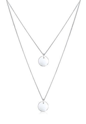 Elli Halskette Elli Damen Halskette mit Plättchen Anhänger 2-lagig Layer Kreis in 925 Sterling Silber 45 cm lang