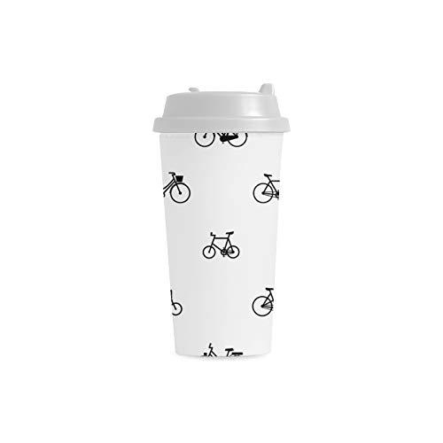 Fahrrad Rad Radfahren Benutzerdefinierte 16 Unzen Doppelwandige Kunststoff Isoliert Sport Wasserflasche Tassen Pendler Reise Kaffeetassen Für Studenten Frauen Milch Teetasse Trinken