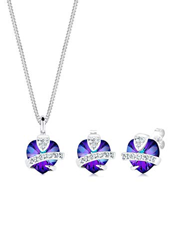 Elli Damen Schmuck Schmuckset Halskette + Ohrringe Herz Liebe Freundschaft Liebesbeweis Silber 925 Swarovski® Kristalle Länge 45 cm