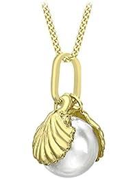 Carissima Gold Colgante de mujer con oro amarillo de 9 quilates (375/1000), perla redonda cultivada de agua dulce, 46 cm
