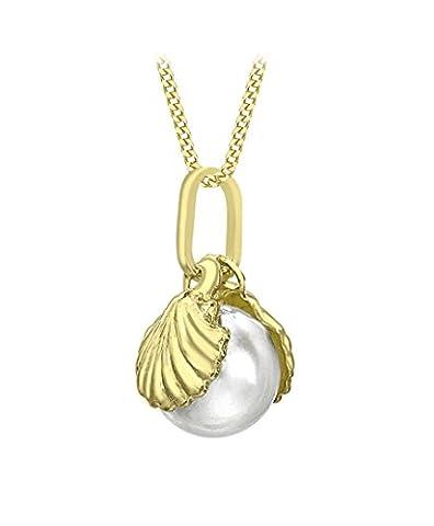 Carissima Gold Damen-Kette mit Anhänger 9ct Shell and Pearl Pendant on Curb Chain 375 Gelbgold Perle weiß Rundschliff China-Zuchtperle Creme 46 cm - (Halskette Weiß Shell Halskette)
