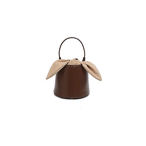 ART WATERMELON Nische Design Leder Damen Tasche Eimer Tasche Weibliche Bogen Eine Schulter Messenger Handtaschen Eimer Einfarbig (Bogen-schulter-tasche)
