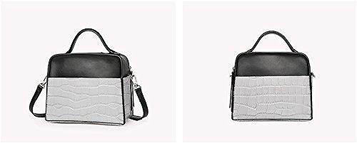 Xinmaoyuan borse Donna Summer donna borsa in pelle alla moda in pelle di pietra borsetta Bump colore spalla singolo croce obliqua sacchetto signora sacchetto,kaki Grigio chiaro
