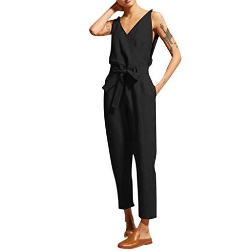 TianWlio Damen Mode Beiläufiger Fester Sleeveless V-Ansatz Gurt der Frauen Dünn Plus Größe Leinen Langer Overall Schwarz S