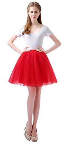 Kostüm Vintage Mädchen - Feoya 50er Vintage Tutu Rock Tüllrock Damen Mädchen Kurz Ballett Tanzkleid Blase Multi-Schichten Petticoat Unterrock Faschings Kostüm