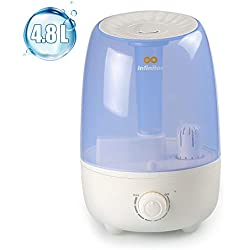 infinitoo Humidificateur Bébé Humidificateur d'Air Maison Ultrasonique 4,8L+ 2 Filtre en Céramique Ultrafine, Utra-Silencieux et Protection Niveau d'Eau Bas, Voyant LED (4.8L)