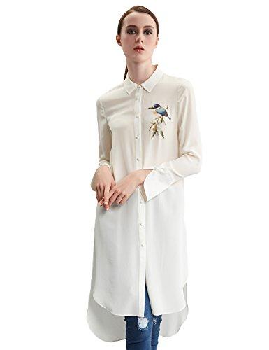 Damen-Bluse-Lang-Seide-Langrm-Blusenkleid-Abziehbilder-Hemdkragen-Weila-Hlsen-Tops-Wei-Lose