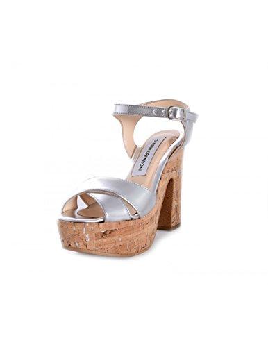 Sandales Avec Argent Dorotea Argent En Cuir