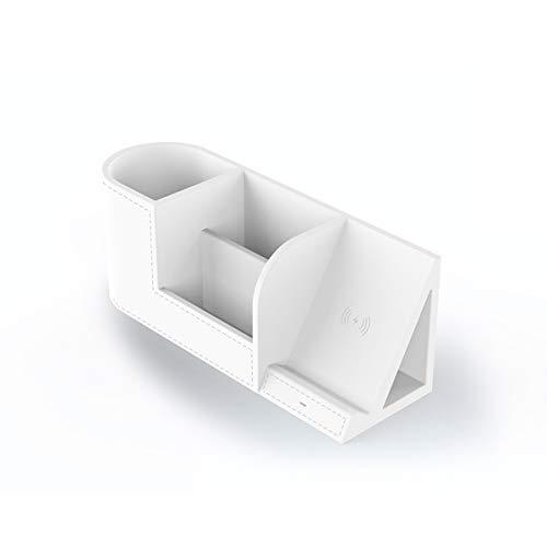 LHXHL Fast Wireless Charger Mit Organizer Multifunktions Qi LadegeräT Induktive Ladestation PU Desktop-Stifthalter FüR Apple-Handy X/8/8 Plus Samsung S8/S9/Note 8 Handy-Induktionsladegeräte(Weiß)