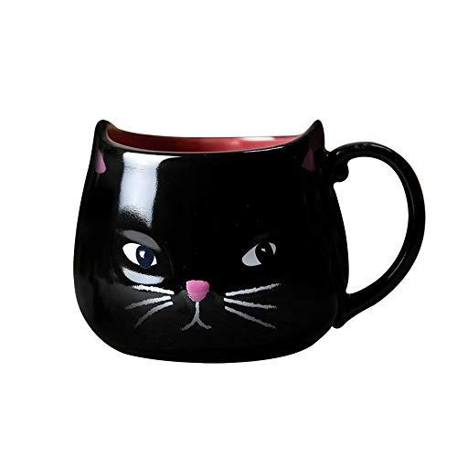 GUIDEB 400 ml Anime Katze Keramik Tasse Cartoon Schwarze Katze Tasse Halloween Kaffee Frühstück Porzellan Tasse