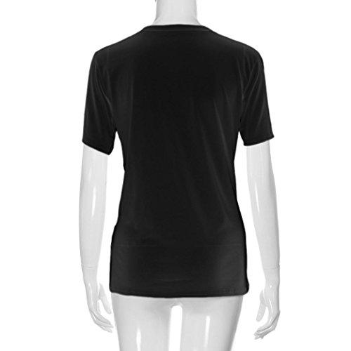 Ularma ❀❀ Damen Sommer Kurzarm Geblümt T-Shirt aus Baumwolle Bluse für Freundinnen Schwarz