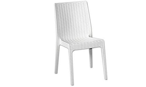 Chaise de Jardin en polypropylène Imitation résine tressée (Lot de 4) Selene Blanc