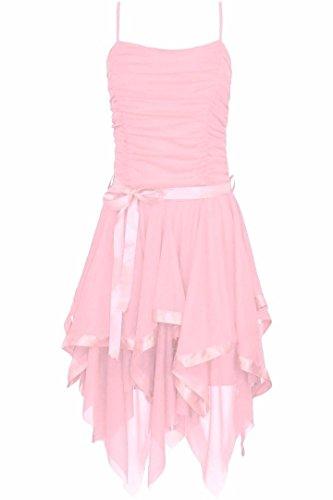 Frauen Plain Chiffon Zick-ZackRand Abschlussball Partei Geraffte Gürtel Riegel Kleid Baby Rosa
