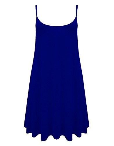 Caraco Femme Swing Robe Évasée Veste De Dames Sans Manche Uni Haut Grande Taille Skater Bleu roi