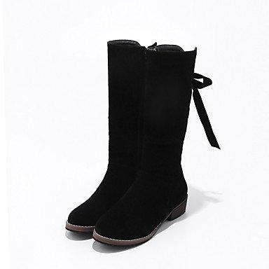 RTRY Scarpe Donna Tessuto Autunno Inverno Comfort Stivali Tacco Piatto Mid-Calf Boots Lace-Up Per Mandorle Casual Rosso Nero US6 / EU36 / UK4 / CN36
