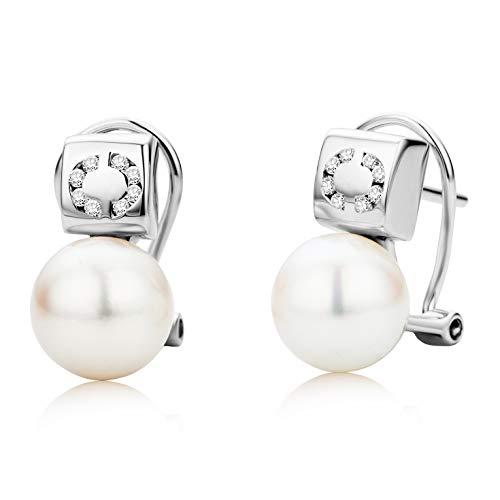 Miore - Orecchini da donna in oro bianco 18 carati (750), con diamanti e perle d'acqua dolce bianche e brillanti da 0,10 cm