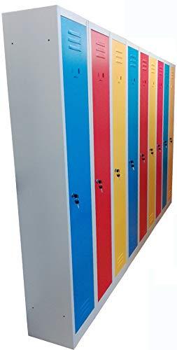 Armadietto spogliatoio in metallo con sistema di aggancio a 3 posti, con ante colorate multicolor, dim.cm.90x30x180h