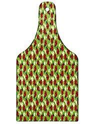 neidebrett, Florales Ornament Muster von Marienkäfer Spring Flowers Daisies Camomiles in Blossom, Deko gehärtetem Glas Schneiden und Servieren Bord, Wein Flasche Form, Multicolor ()