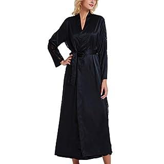 YAOMEI Women's Bathrobe Dressing Gown Kimono Satin Full Length, Silky Long Lace Bridesmaid Wedding Nightwear Sleepwear Pyjamas for Hotel Bride Party or Bridal Shower (Bust 108cm, 45.52 inch, Black)