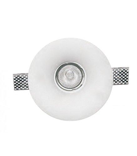 takestop® PORTA FARETTO tondo conico IN GESSO CERAMICO A SCOMPARSA 130x52 MM DA INCASSO FISSO PORTAFARETTO PER LAMPADE A LED