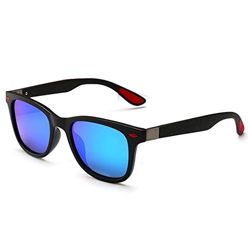 JIANGSN Polarisierte Sport-Sonnenbrille unzerbrechlichen Rahmen Klassische Trendige stilvolle Sonnenbrille für Männer, Frauen, 100% UV-Schutz,Blue