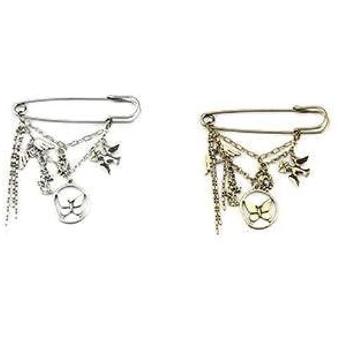 Stile Vintage Farfalla e Uccelli fascino Pin Sciarpa - Oro Antico
