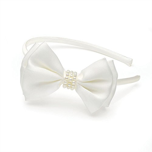 White Faux Pearl Beads Bow Satin Covered Alice Band Headband Bridal Wedding Prom