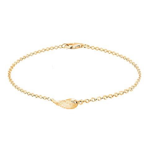 Imagen de treend24  pulsera con alas para mujer, oro rosado, charm, pulsera de la suerte con texto