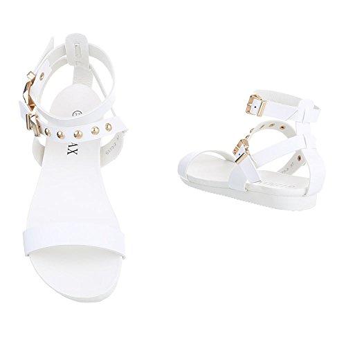 Riemchensandalen Damenschuhe Knöchelriemchen Nieten Besetzte Schnalle Ital-Design Sandalen / Sandaletten Weiß S173-2