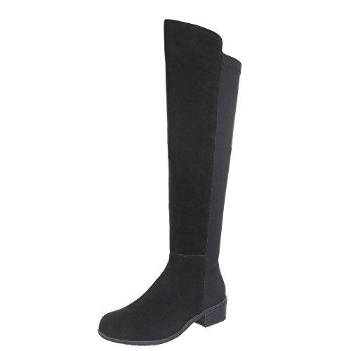 Ital-Design Damen Schuhe, B8519-HB, Stiefel, Gefütterte Wildleder, Wildleder und Synthetik, Schwarz, Gr 39 (Lila Wildleder-boot)