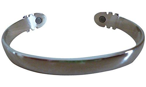 Due tono argento e oro bracciale rigido magnetico personalizzabile