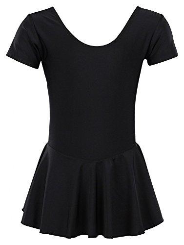 (tanzmuster Kinder Ballettanzug Ballett Trikot Marina mit Röckchen. Hübsches Ballettkleid in schwarz, Größe:104/110)