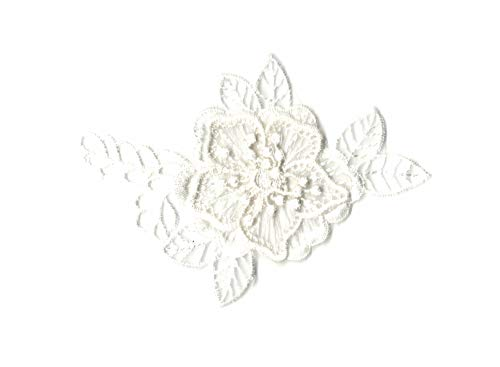Klein verdoppelt Layered Schwarz oder Off Weiß Floral Spitze Applikation Organza Spitze Motiv 11cm x 6,5cm-Pro Stück * * Kostenlose UK P & P * * Schnelle Versand bestellen. * *, gebrochenes weiß, around 11cm x 6.5cm - Floral Layered