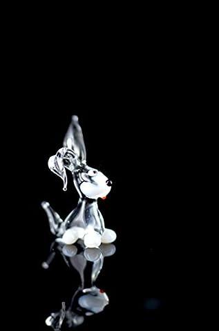 Weißes Kaninchen - Miniatur Figur aus Glas Weiß Schwarz Klar - Glasfigur Weißer Hase Mini Nr. 2 k-8 mit schwarzer Nase und Weißen Pfoten - Glastier Deko Setzkasten