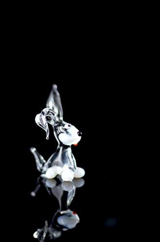 Coniglio bianco–statuetta in vetro bianco nero trasparente–vetro figura coniglio bianco mini n. 2k 8con il nero naso e zampe bianchi–vetro animale deko setzkasten vetrina