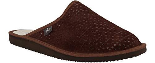 RBJ leather shoes . Herren Luxus Perforiertes Leder Hausschuhe Männer Pantoffeln Pantoletten Hausschuh Pantoffel (42 EU, Braun 881)