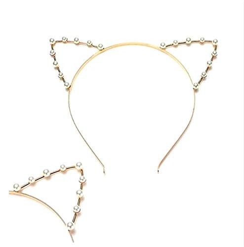 Asien-Katze Ohr Stirnband Perle Form Strass Haar Band Headwear-Highlight In der Partei für Frauen-Kostüm