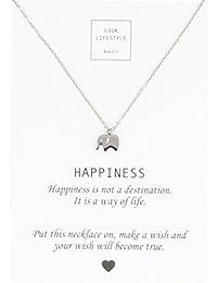 LUUK LIFESTYLE Joya de mujer, tarjeta de regalo, gargantilla con colgante de elefante y cita «Happiness», amuleto, oro, plata, rosé