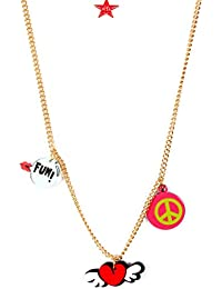 Lil' Star By Ayesha Fun Peace Love Pendant With A Metallic Gold Necklace