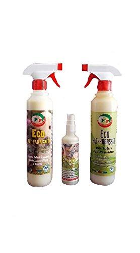 pip tris eco alt-parassiti, 3 repellenti ecologici sviluppati con sostanze naturali per la prevenzione di: persone, animali e piante