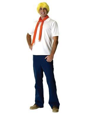 Original Lizenz Kostüm Fred Jones SCOOBY-DOO Mystery Machine Geisterjäger Mystery Mysteri Freddy Frederick blau weiß Pullover Gr. STD (Scooby Freddy Doo Von)