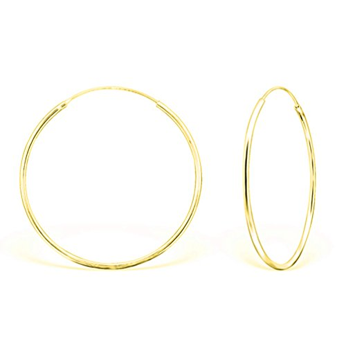 DTPsilver - Damen - Groß Creolen - Ohrringe 925 Sterling Silber Gelb Vergoldet - Dicke 1.2 mm - Durchmesser 40 mm