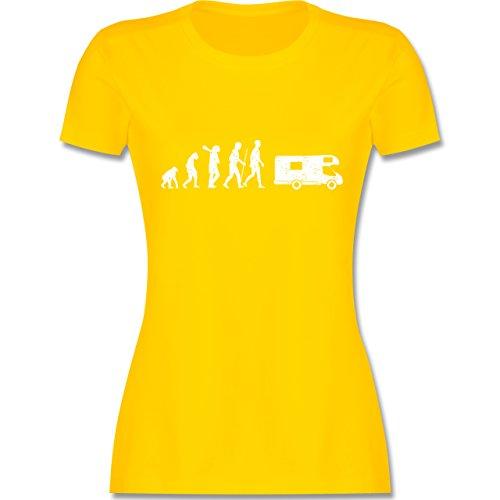 Evolution - Evolution Camper Weiß - Damen T-Shirt Rundhals Gelb