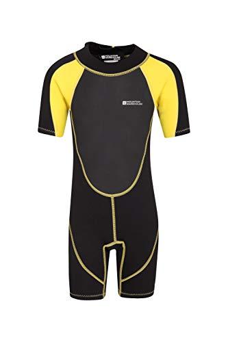 Mountain Warehouse Junior kurzer Kinder-Neoprenanzug - Sommer-Nasstaucheranzug, Leichtlauf-Reißverschluss, Flachnähte, verstellbarer Nacken - für den Sommer, zum Tauchen Sanftes Gelb 116 (5-6 Jahre)